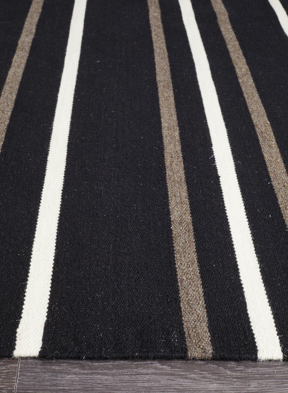Oslo Stripe Flat Weave Wool Rug Black