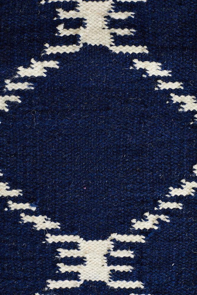 Flat Weave Stitch Design Rug Navy