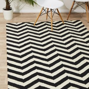 NOM-18-BLACK-WHITE Flat Weave Multi Rug - The Flooring Guys