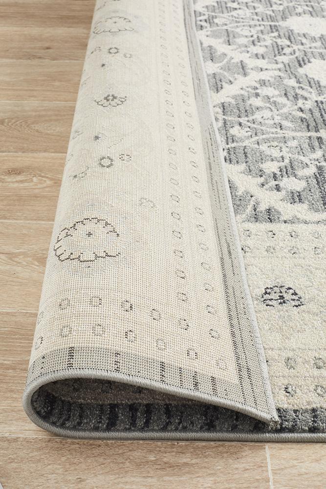 Chobi Design Rug Navy Grey Bone