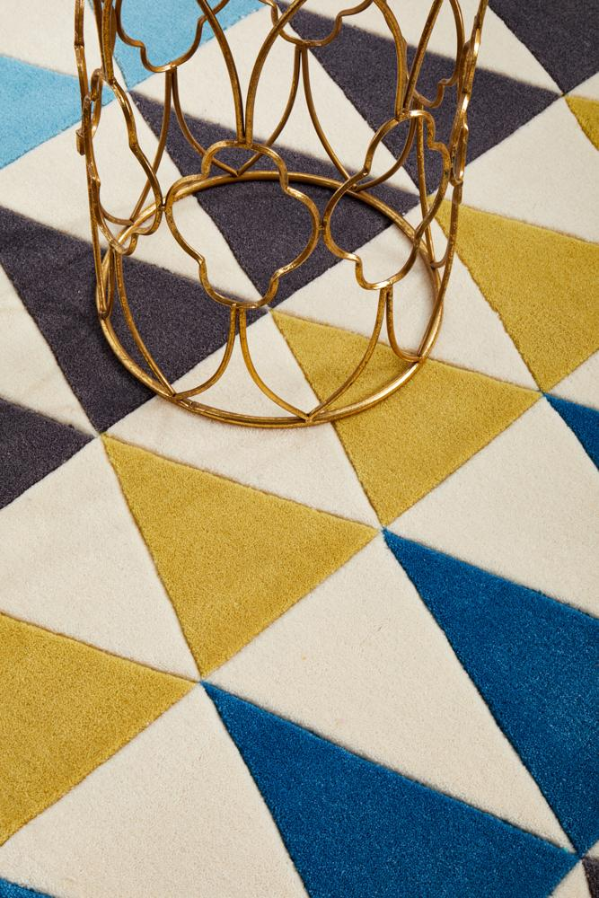Modern Bunting Design Rug Multi Blue