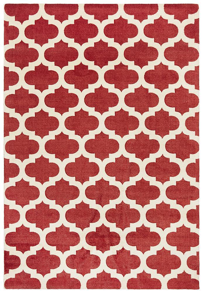 Trellis Stylish Design Rug Red